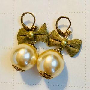Betsey Johnson Bow & Pearl Dangle Earrings